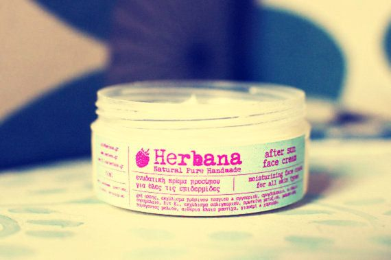 After Sun Face Cream, Moisturizer, Soothing, Natural Face Care, Organic Face Cream, Anti - Irritation & Redness by Herbana Cosmetics  With Aloe