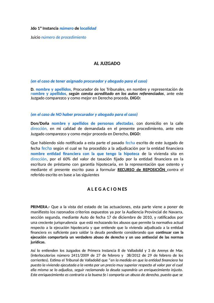 Modelo escrito de condonación de la deuda pendiente (a presentar por el abogado de oficio en el Juzgado) 1