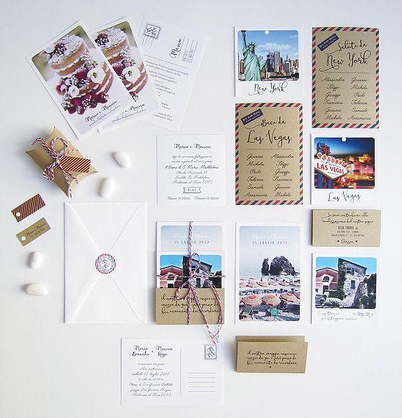 Coordinato nozze scatola dei ricordi: Partecipazioni con cartolina e polaroid, adesivo chiudibusta, biglietti bomboniera, cartoncini tableau, segnatavoli polaroid, menu cartolina