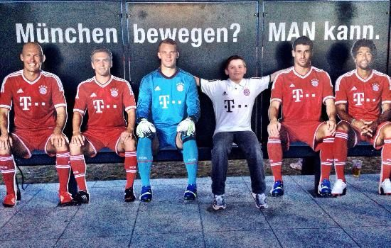 Allianz Arena: My son the young Bayern Fan!!