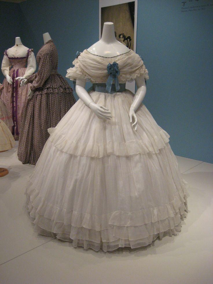 2012-08-25 KSMF - Sheer white cotton dress with blue satin sash (French), circa 1860.