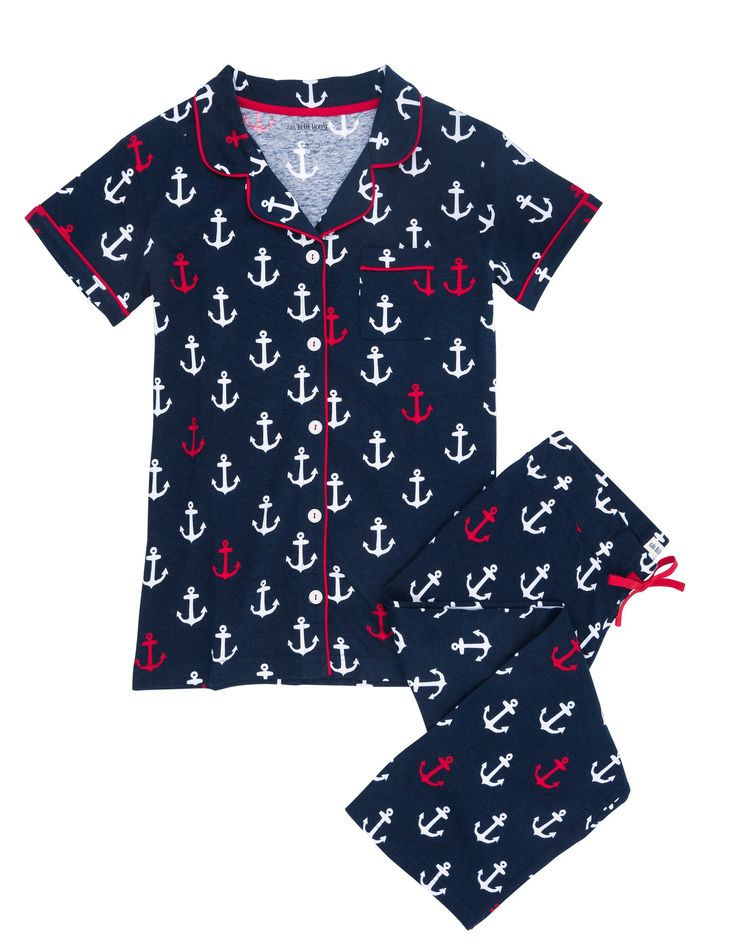 Anchors Pajama Set - Pajama Sets - Women - The Gift Shop  | Hatley US