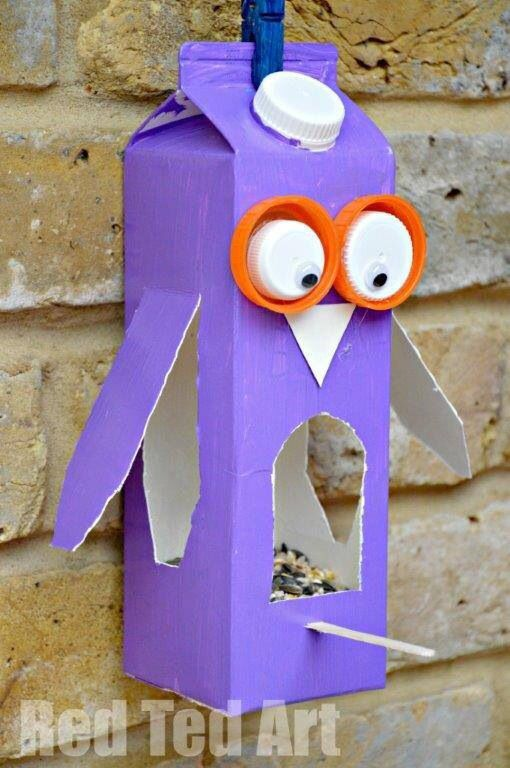 Homemade Bird Feeder....Use an empty Milk Carton, paint outside, decorate outside as pictured. Don't forget a twig or stick in Front!!!