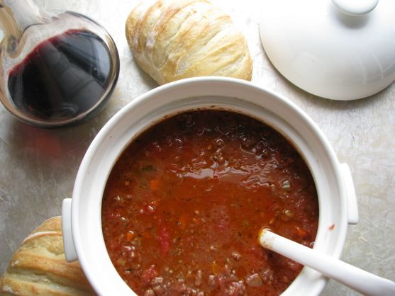 Bolognese Sauce with Fresh Pasta - BEST Bolognese Sauce EVER!!!! Takes a long time to cook, but it is so worth it.