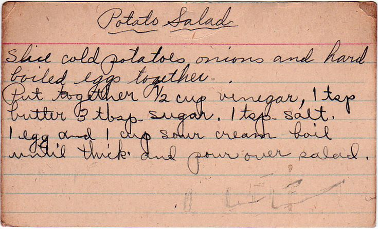 With a boiled sour cream and egg dressing. A potato salad with a similar dressing appeared in the July 12, 1942 edition of The American Weekly, an insert in Hearst newspapers; this particular image...
