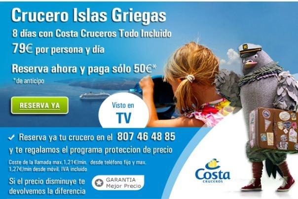 Cruceros Islas Griegas. 8 días con Costa Cruceros con Todo Incluido desde 79€ por persona y día. http://www.rumbo.es/cruceros/costa/n?selectedDuration=7-8=recommended