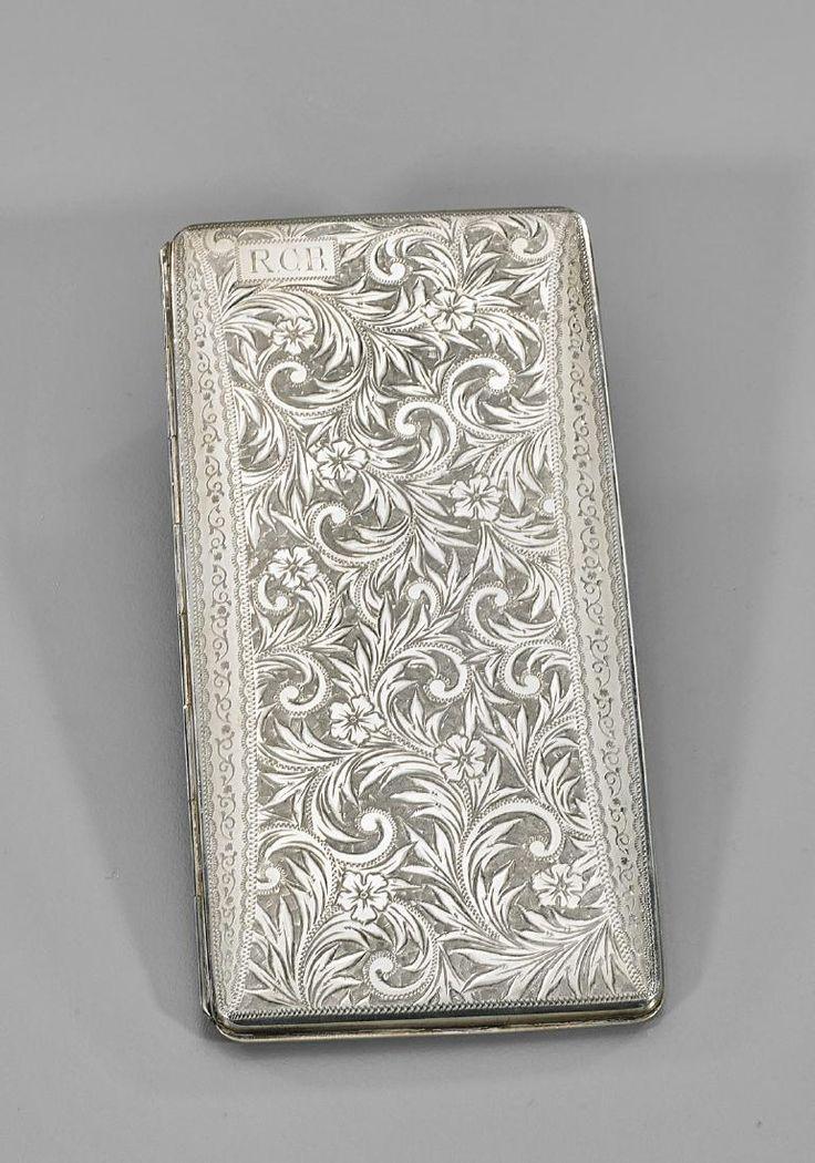 Antique Japanese sterling silver cigarette case.