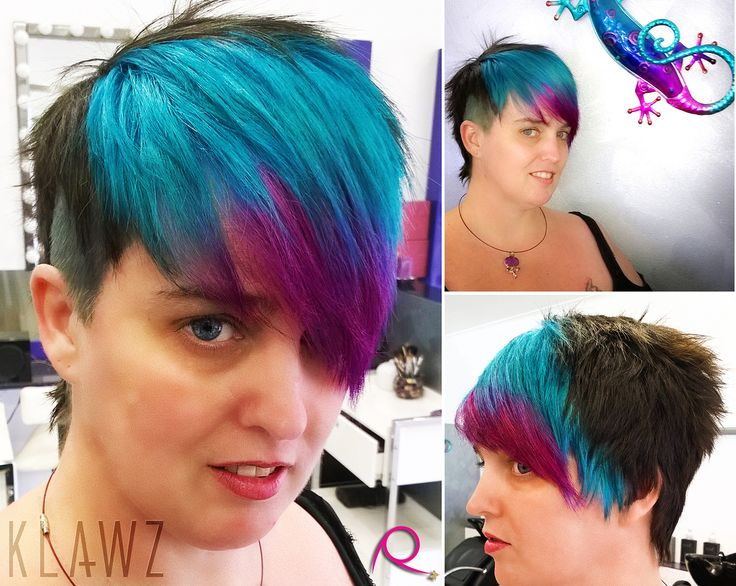 Funky Coloured Hair - Black, Turquoise Blue and Pink/Purple