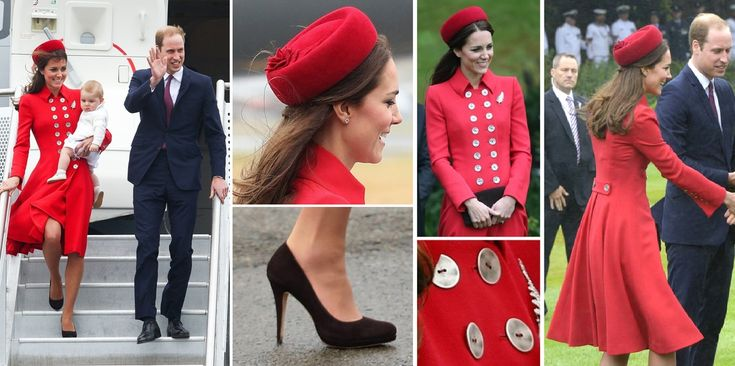 Tatiana's Delights - Duchess Kate Middleton arriving at Wellington Airport in New Zealand with Prince William and Prince George for the Royal Tour 2014. In a red double breasted fit and flare coat and red pillbox hat. Very Jackie Kennedy!
