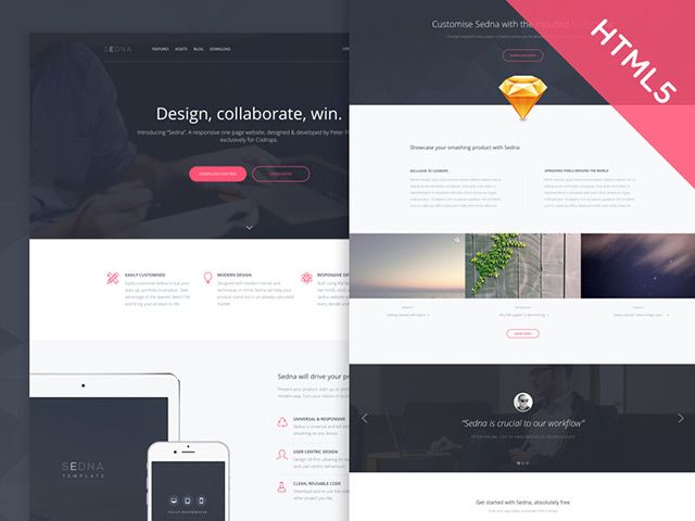 Sedna is a responsive one page website template designed with Sketch and coded with HTML5/CSS3. Freebie released by Peter Finlan.