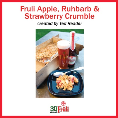 Cooking with Beer: Fruli Crumble from Ted Reader's cookbook Beerlicious!