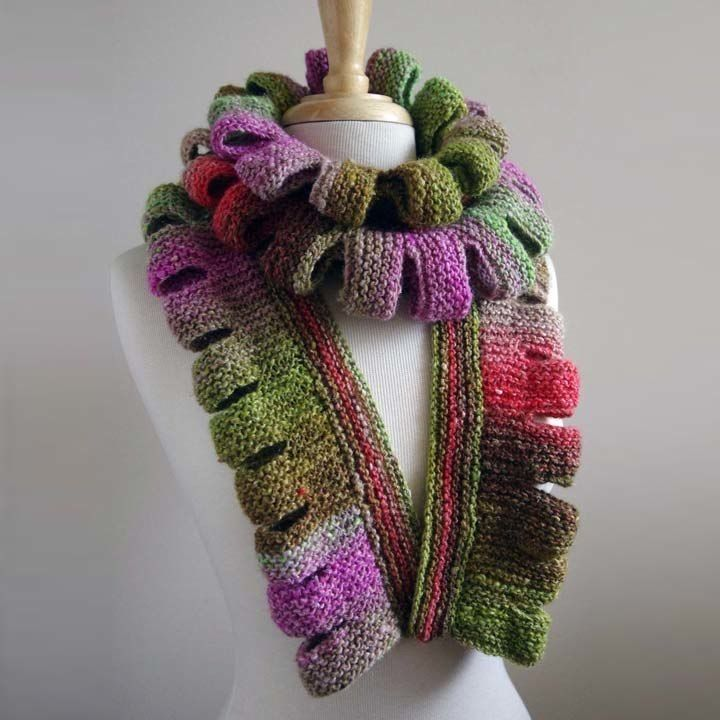 FLOWER SCARF NORO #knit #free_pattern (only email PDF)