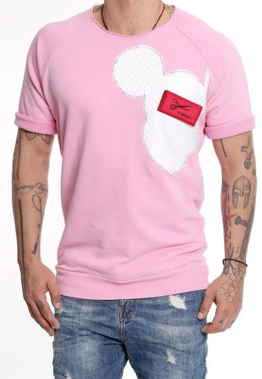 pink mickey patch  #vagrancylifestyle #handmade #sweatshirts #man