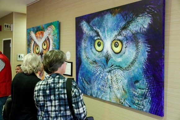 """Hoot"" by Laurel Bahe, displayed at the Courtyard Marriott Downtown."