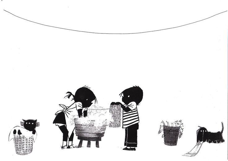 * Wasdag! Ook leuk om aan de waslijn als knipoefening allemaal zwart/witte kleertjes te laten maken! 2-2