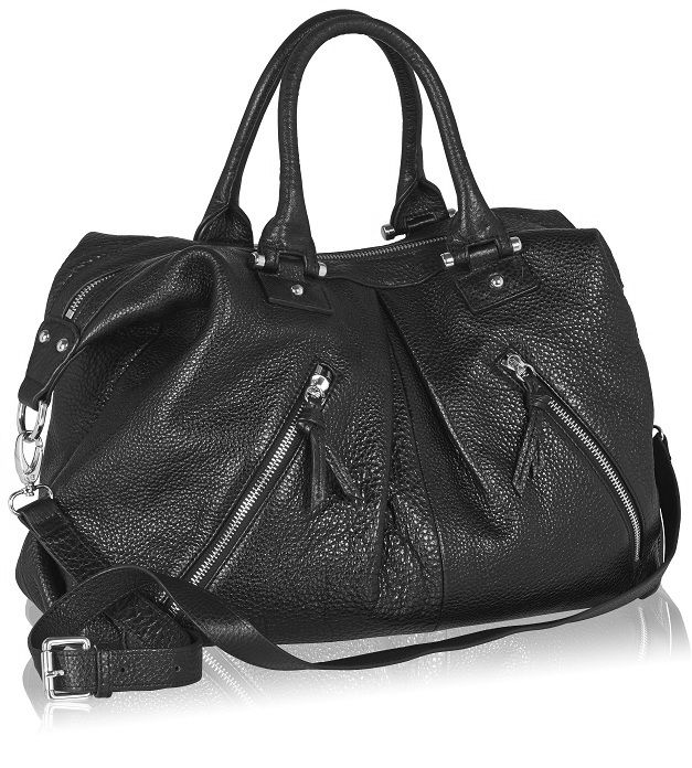 Naledi Copenhagen  2-zip tote, Black tectured leather with silver hardware