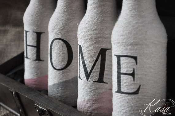HOME letters on Natural Cotton Twine/String by KasaStudioDesigns