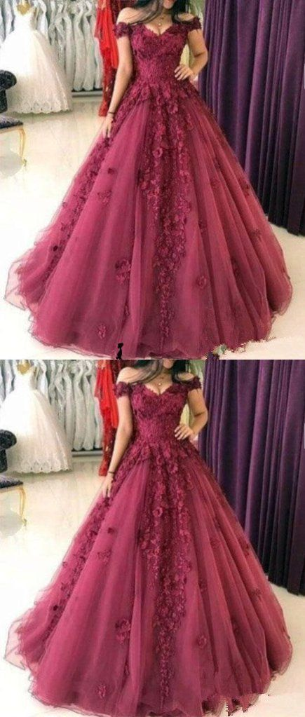 3D Floral Applique Long Prom Dress Off the Shoulder A-Line Evening Dresses G260#prom #promdress #promdresses #longpromdress #promgowns #promgown #2018style #newfashion #newstyles #2019newprom #eveninggown #aline #3Dfloral #appliques #offshoulder #tulle