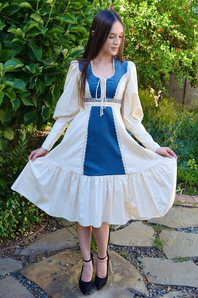 Vintage 1970s Gunne Sax By Jessica McClintock White Blue Velvet Wedding Dress