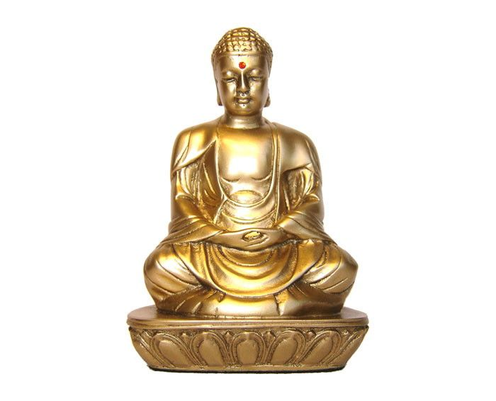 Confeccionado em resina, cor dourada. Com aplicação de strass Swarovski. Tamanho aproximado: altura 11cm, comp. 7cm. Siddharta Gautama, ser de personalidade excepcional, foi o real fundador do budismo. Enviamos para todo o Brasil. O produto será postado em até 4 dias úteis.