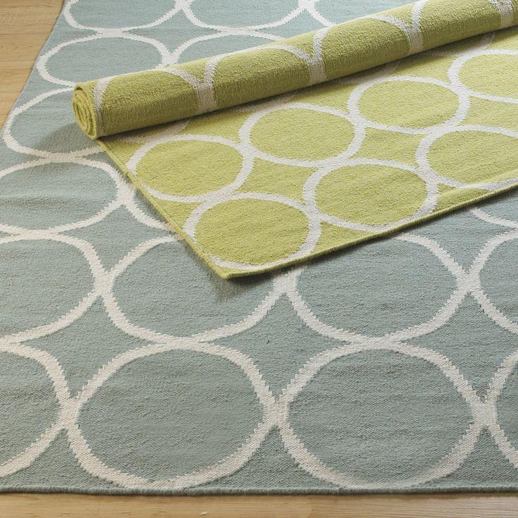 circle lattice dhurrie rug in pear green or sea blue