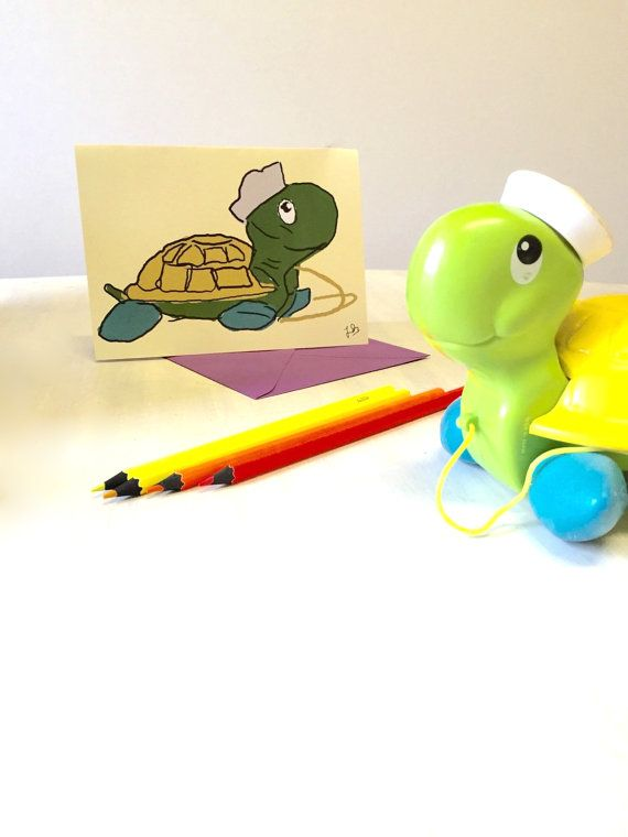 Paper gift card  Vintage Tag along Turtle by TrudysStoreHandmade