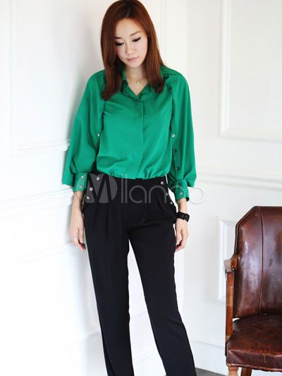 Moda verde Stand Collar tres mangas Cuarto imitado camisa de seda - Milanoo.com