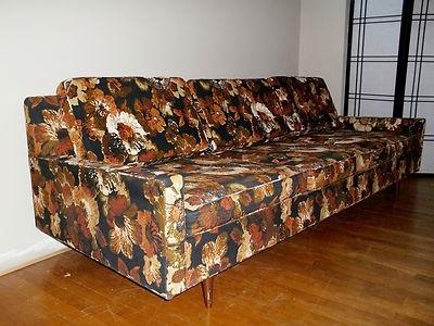 Danish Mad Men Mid Century Selig Jack Lenor Larsen Style Fabric Sofa Couch  | EBay Retro