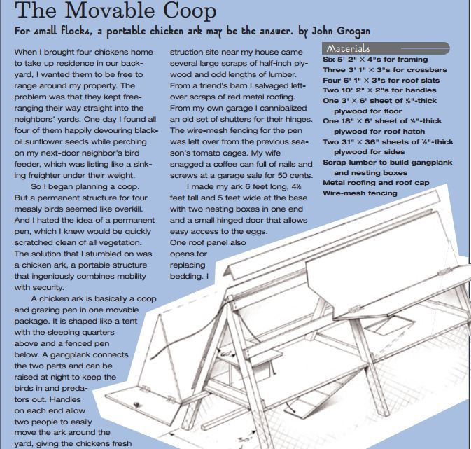 Movable Chicken Ark Plans (Free portable hen house plans) #HenHousePlans www.FreeHenHousePlans.net