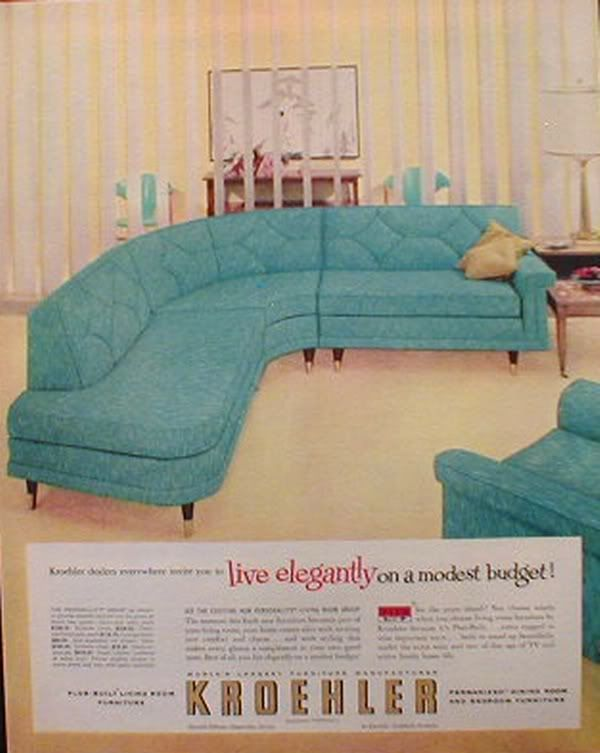 turquoise sofa | ... Elegantly: Fabulous Dreamy 50s Sectional Sofa For Sale! | yuppielove