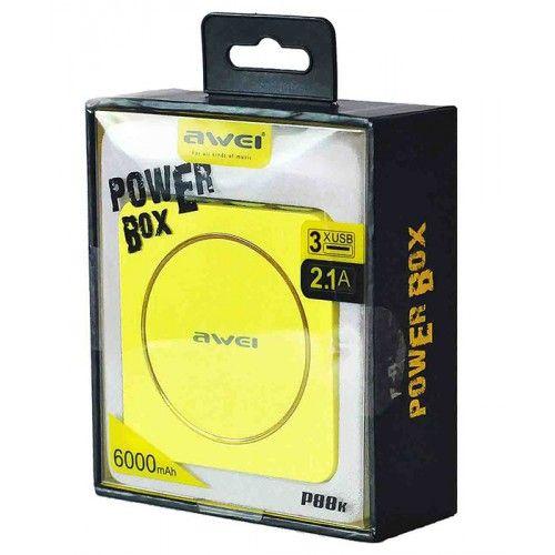 Портативный аккумуляторAwei Power Bank p88k 6000mA в интернет магазине внешних аккумуляторов с бесплатной доставкой по Москве, или России при заказе на сумму от 3000 рублей.