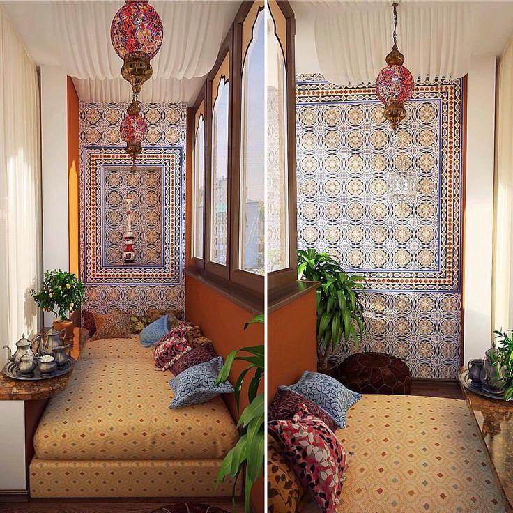 Арабский стиль в интерьере лоджии. Дизайн #kashtanovacom  #интерьер #балкон #лоджия #восточныйстиль #арабский #стиль #дизайн #декор #дизайнинтерьера #проект #дизайнпроект #дизайнбалкона #плитка #дизайнер #interior #interiordesign #design