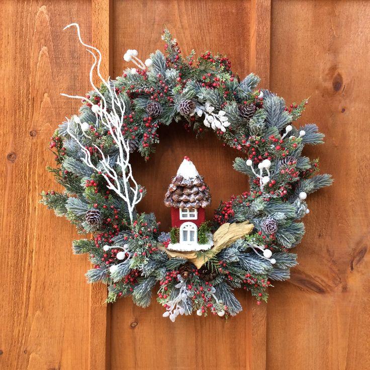 Winter Scene, Winter Wreath, Christmas Wreath, Handmade Decor, Front Door Decor, Unique Wreaths, Christmas Decor, Wall Decor, Made In Canada by DearloveDecorDesign on Etsy