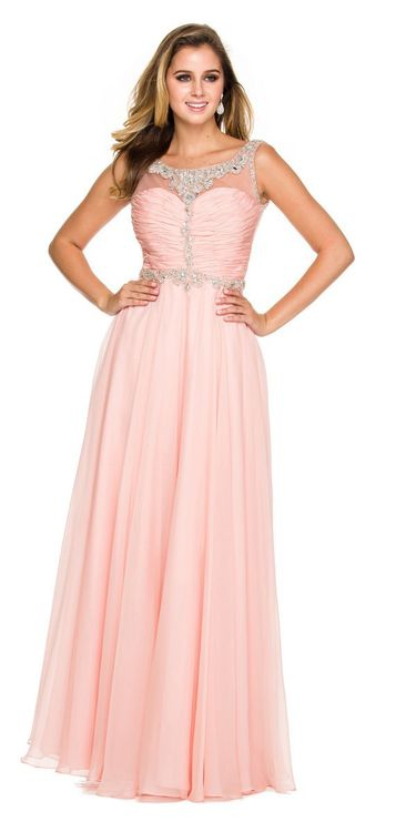 c1135803c Nox Anabel - 8155 Bateau Illusion Chiffon A-Line Bridesmaid Dress (shirred  bodice