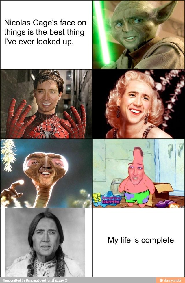 Laughed way too hard at the E.T Nicholas Cage >> Spider Man Nick Cage got me