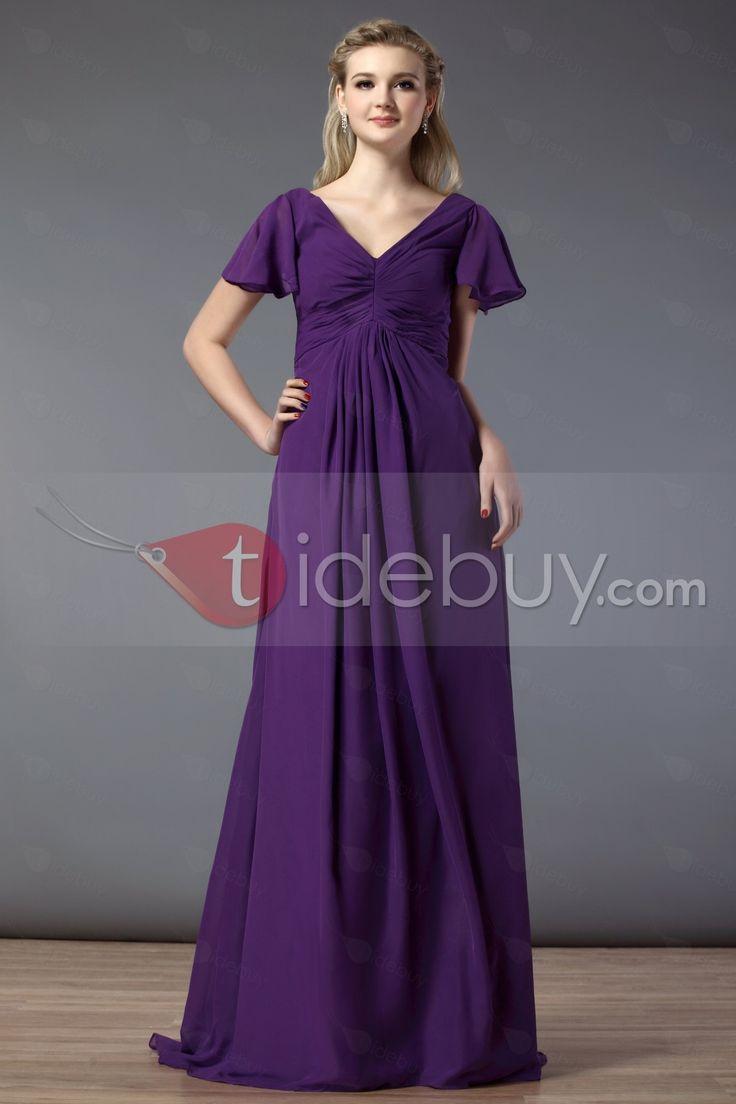 豪華ドレープAラインVネック半袖床まで届く長さ花嫁介添人ドレス