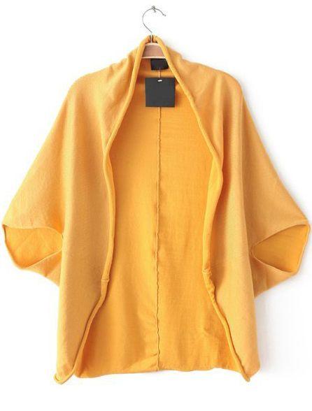 Yellow Batwing Sleeve Loose Knit Top - Sheinside.com