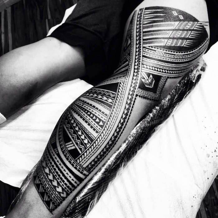 tatouage polynesien bracelet cuisse femme. Black Bedroom Furniture Sets. Home Design Ideas