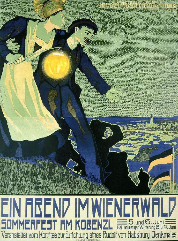 Fritz Karpelius: Plakat Ein Abend im Wienerwald (Sommerfest am Kobenzl 5./6. Juni 1909), Farblithographie © Wien Museum
