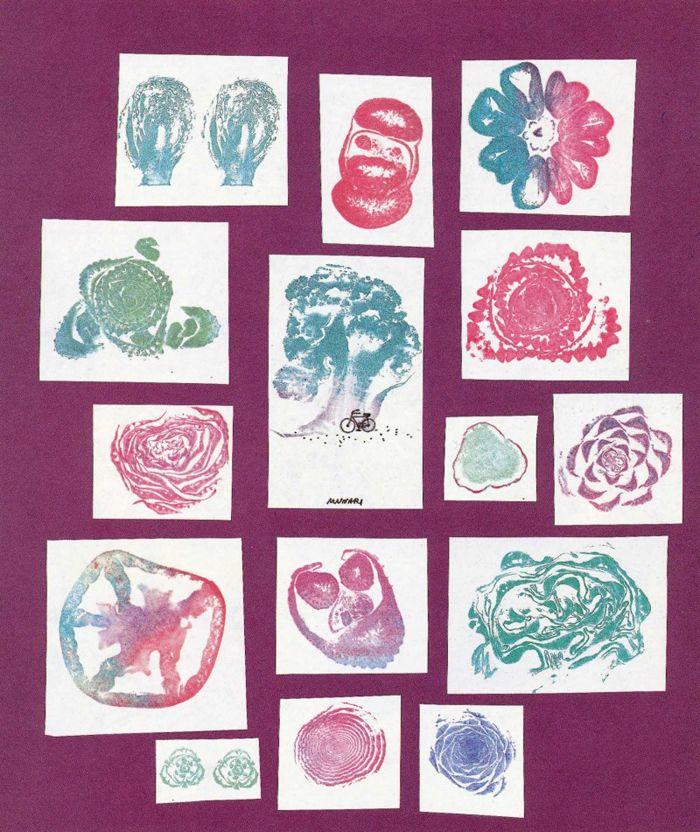 "Bruno Munari, ""Roses In The Salad,""1983. Stamps issued from salad. © Bruno Munari. Courtesy Corraini Edizioni."