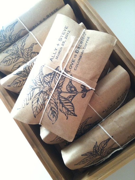 "Cute favors: ""Love is Brewing"" Coffee Beans"
