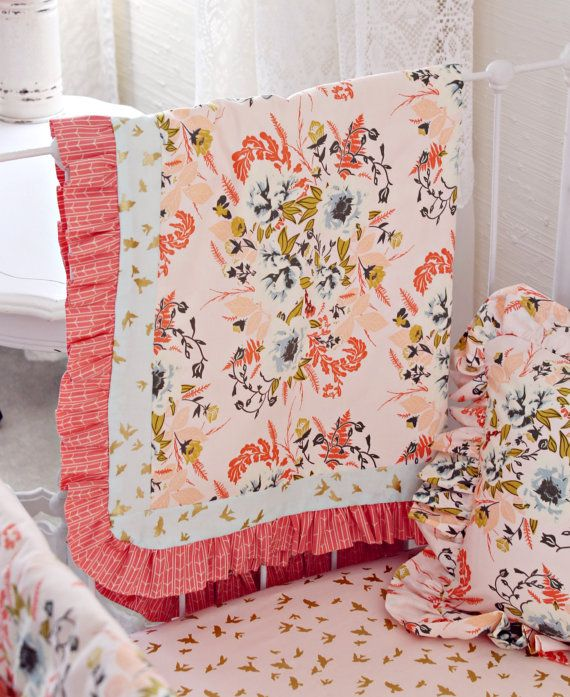 Blush Pink and Coral Crib Bedding Girl Pink Gold by LottieDaBaby