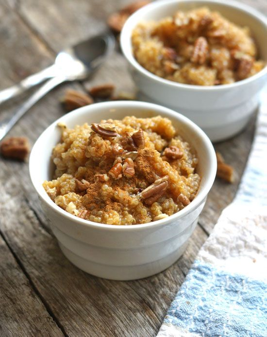 Quinoa Pumpkin Porridge. A warm and hearty breakfast that's bursting with protein and Fall spices!
