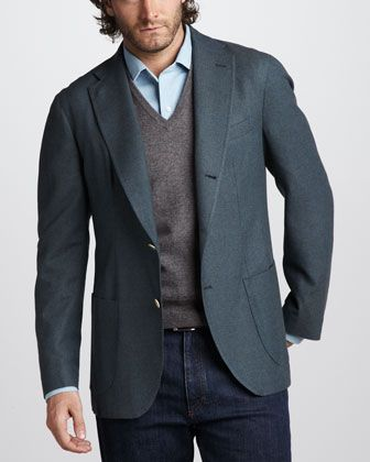 Loro Piana, Fall 2012  Cashmere-Silk Sport Coat: From dark jeans to grey flannels - this is a great wardrobe addition.