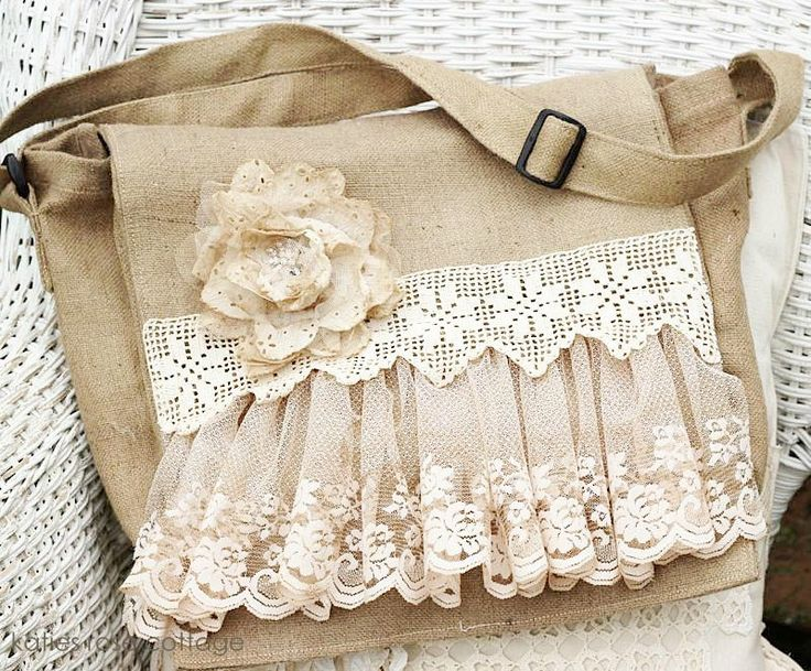 Vintage Lace Messenger Bag ~ This would look pretty cool with a dark red/black bag and black lace...
