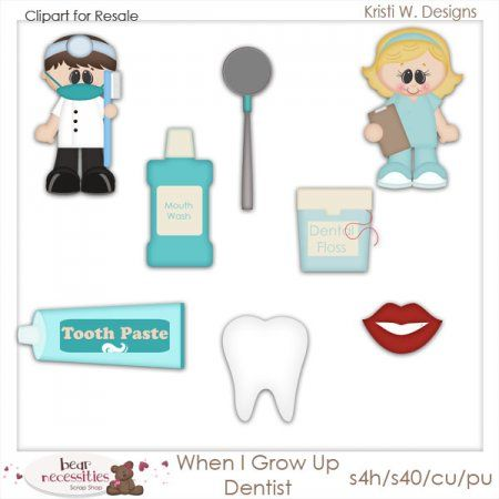 When I Grow Up Dentist Clipart for Resale
