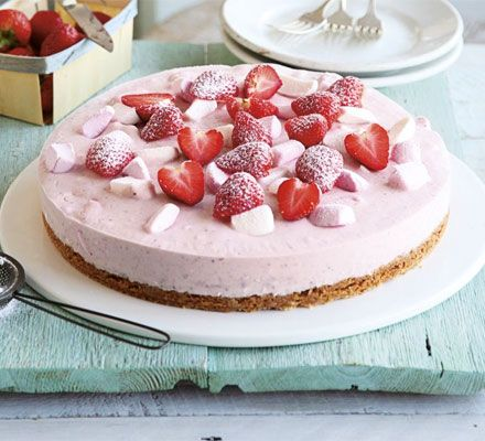 Fruit eases the guilt factor of this pretty-in-pink, ricotta-based cake with a shortbread base and marshmallow topping