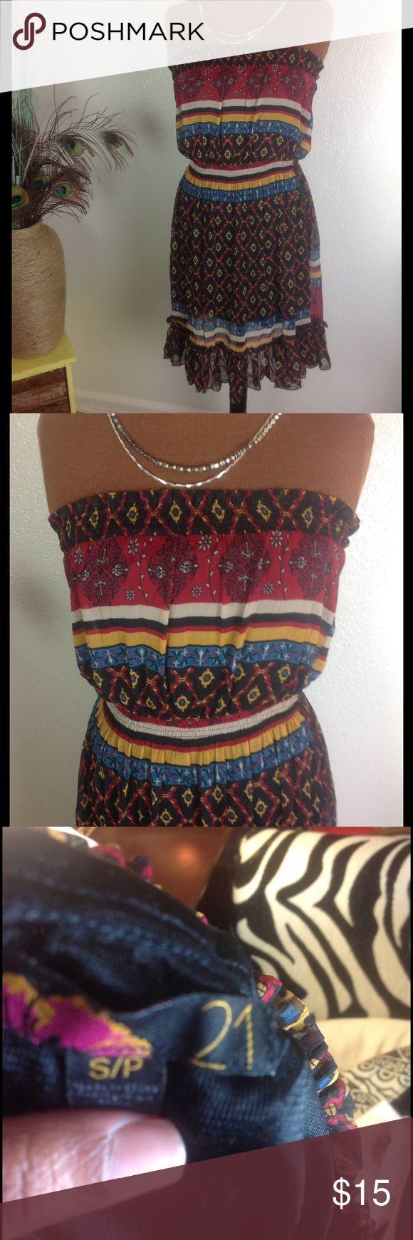 [Forever 21]  tube top dress Cinched waist strapless tube dress Forever 21 Dresses