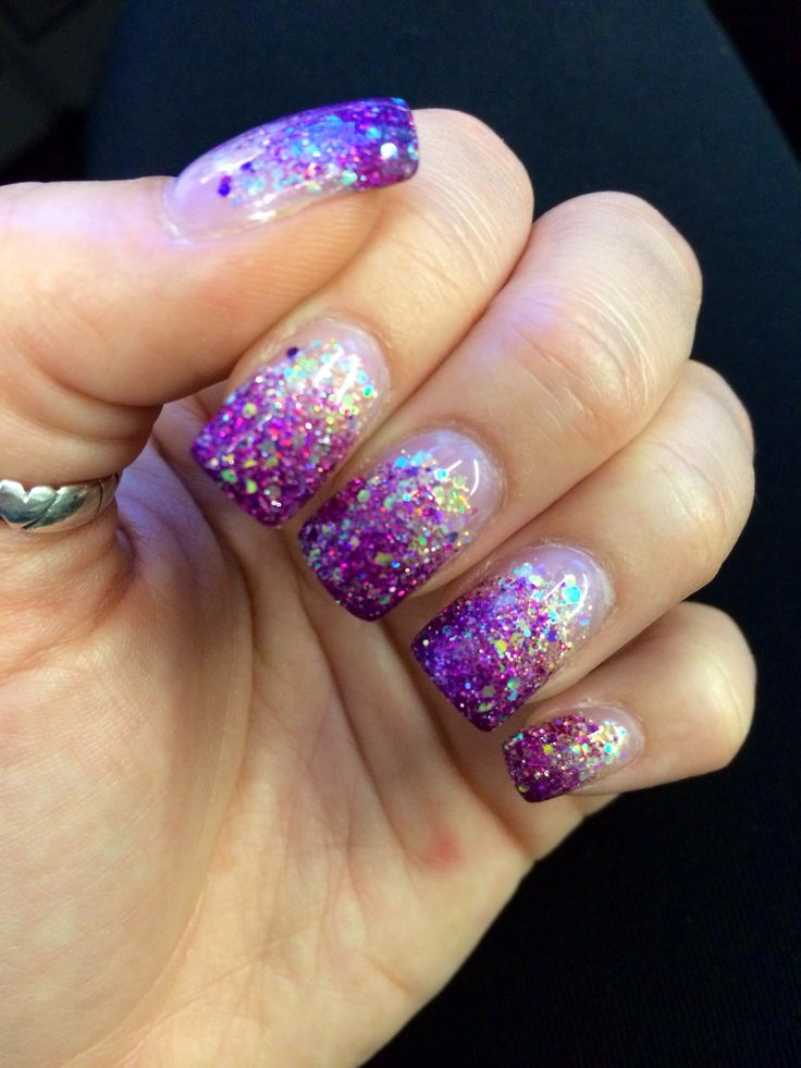 nails pink purple glitter fade