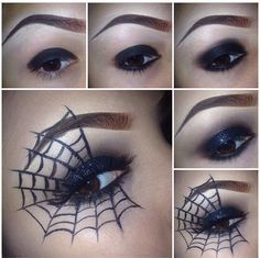 [ http://www.pinterest.com/toddrsmith/boo-who-adult-halloween-ideas/ ] - Halloween Makeup Spider Webs